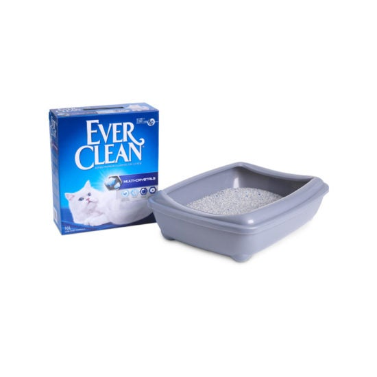 Ever Clean Super Premium Clumping Cat Litter Multi Crystals Product Image with the tray